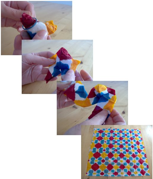 tissue paper crafts: make tie-dye tissue paper.